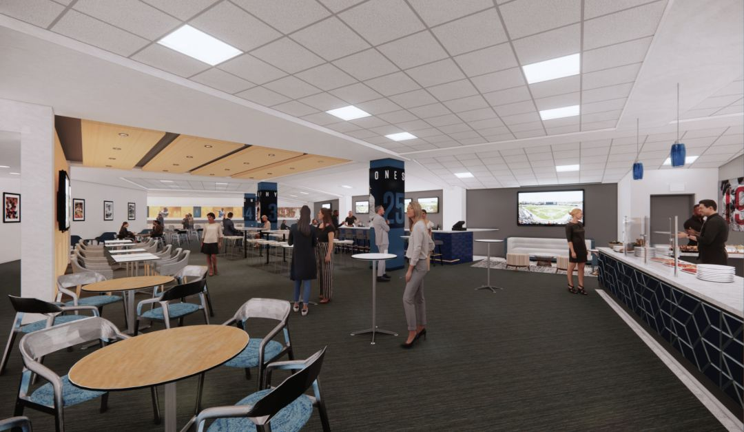A rendering of the new LECOM lounge at CoolToday Park.