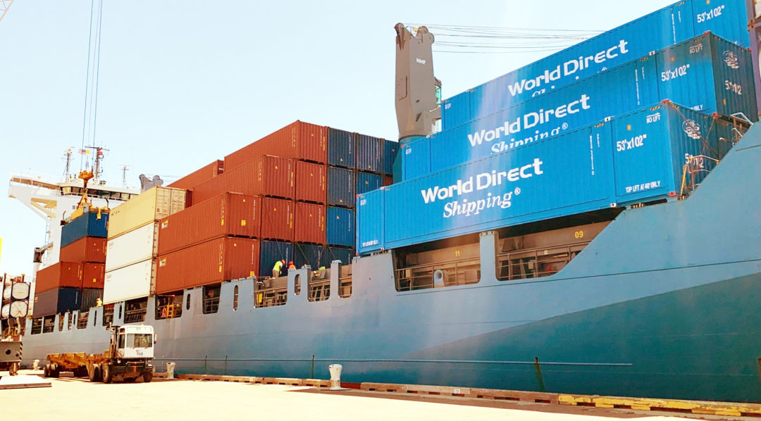 World Direct Shipping's M/V Queen B III, carrying newly acquired 53-foot-long containers, is the latest and largest addition to the Port Manatee-based line's vessel fleet, which offers the fastest short-sea link between Mexico and key U.S. markets.