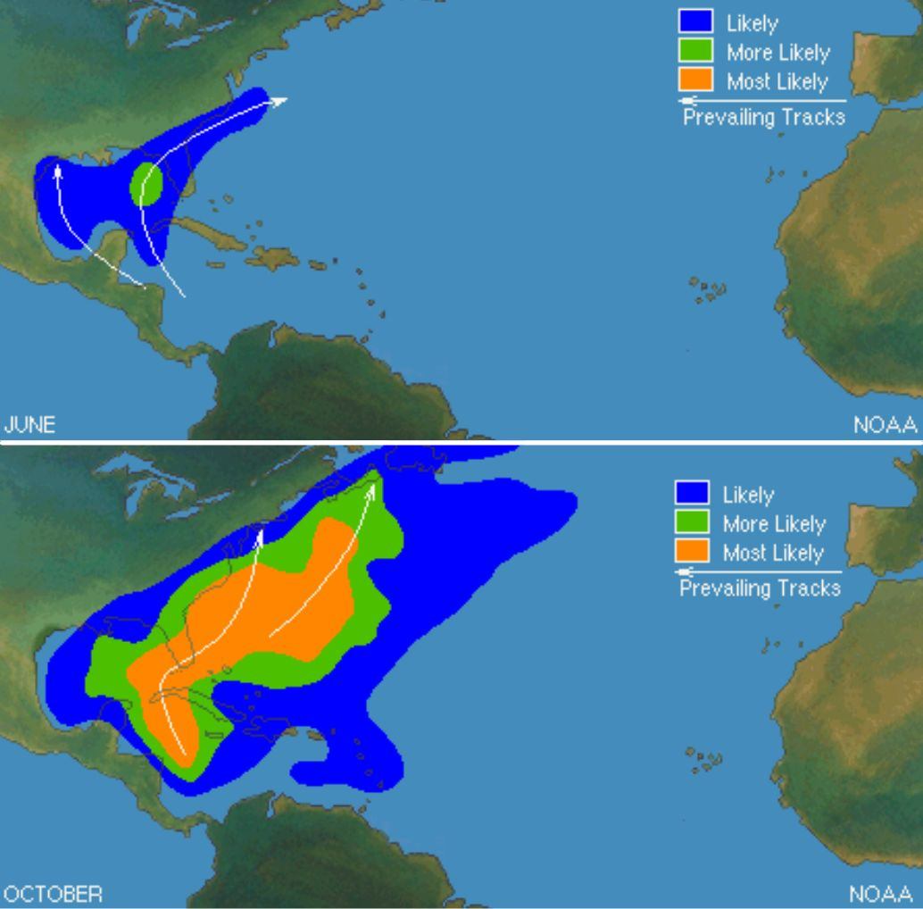 National Hurricane Center storm track predictions for June 2021, top, and October 2021, bottom.
