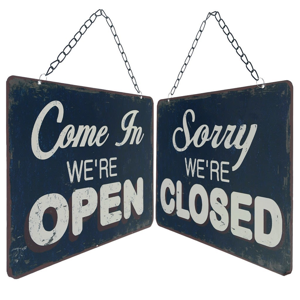 Double sided open close shop door sign gov0cz
