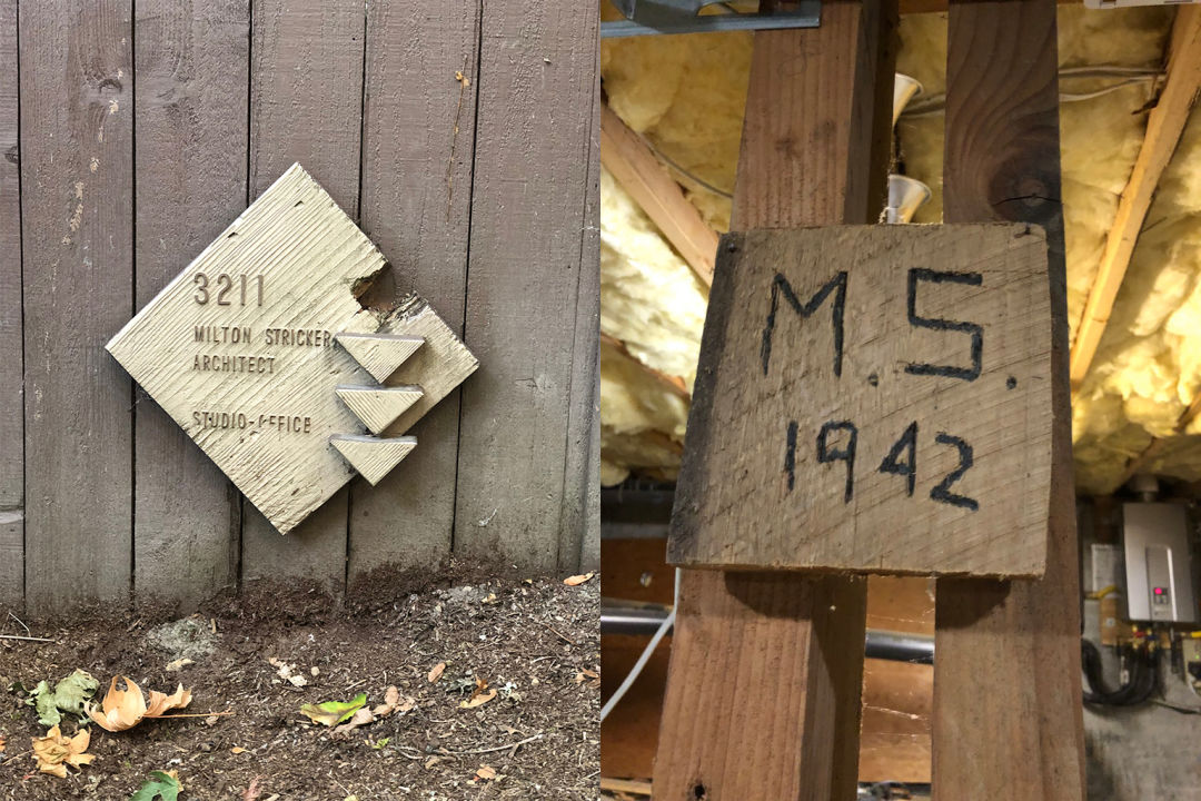 """Two images side-by-side. One is a diamond shaped office plaque that says """"Milton Stricker Office Studio."""" The other is a large piece of flat, square wood that says """"M.S. 1942"""""""