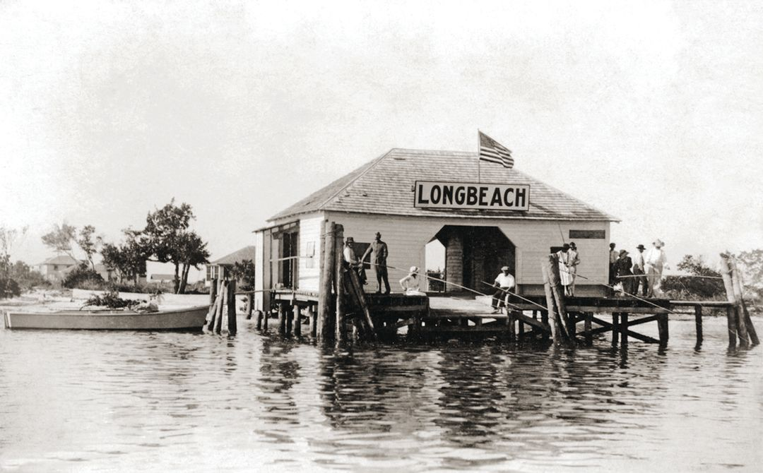 Fishing off the Longbeach Village dock in the 1910s.