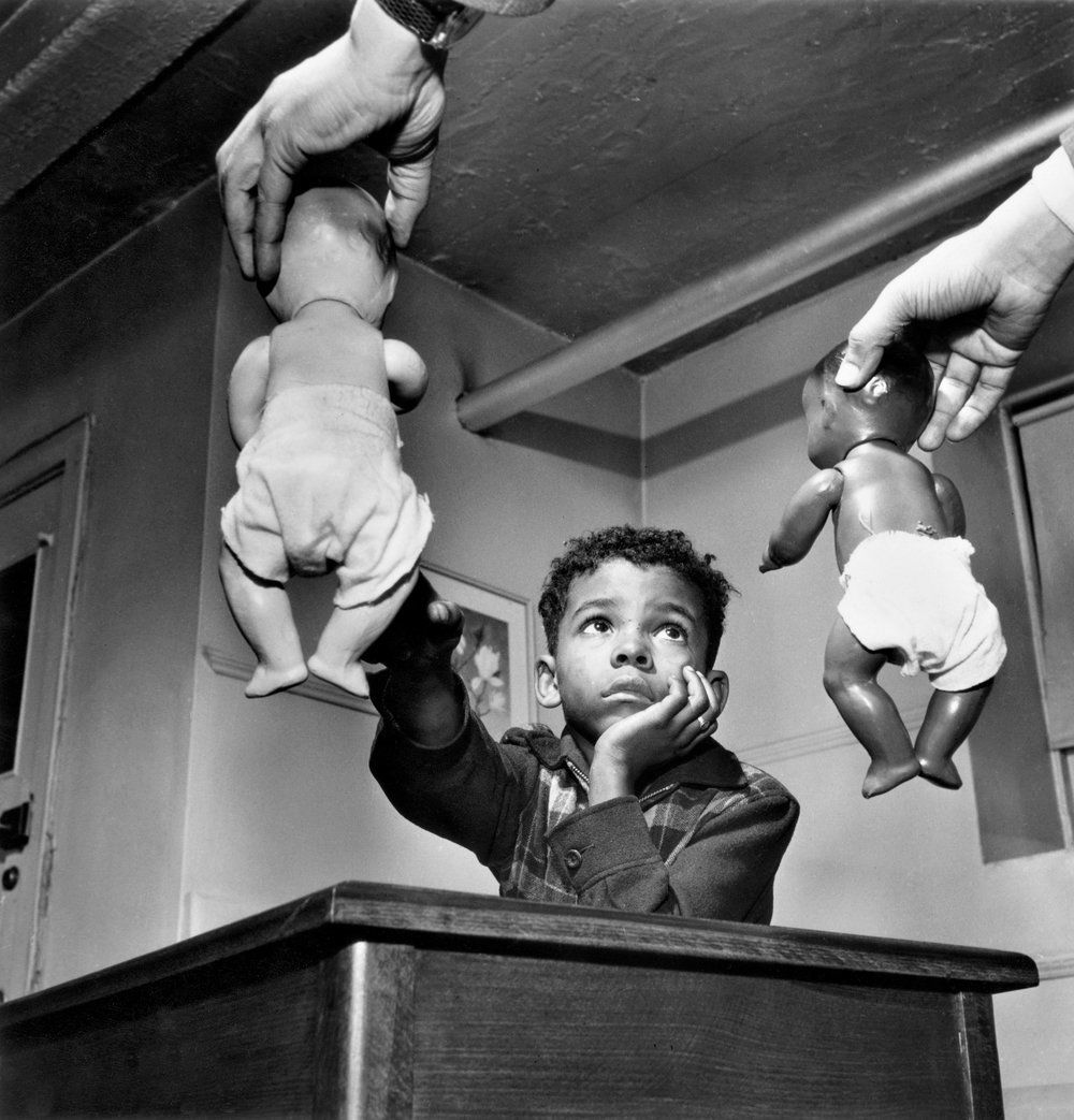 Dr. Kenneth Clark conducts his famous doll study with a young boy.