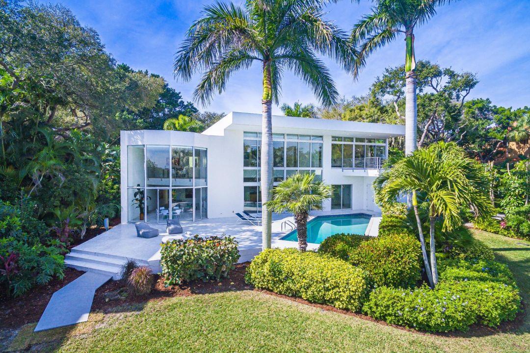 Siesta Key home backyard with pool