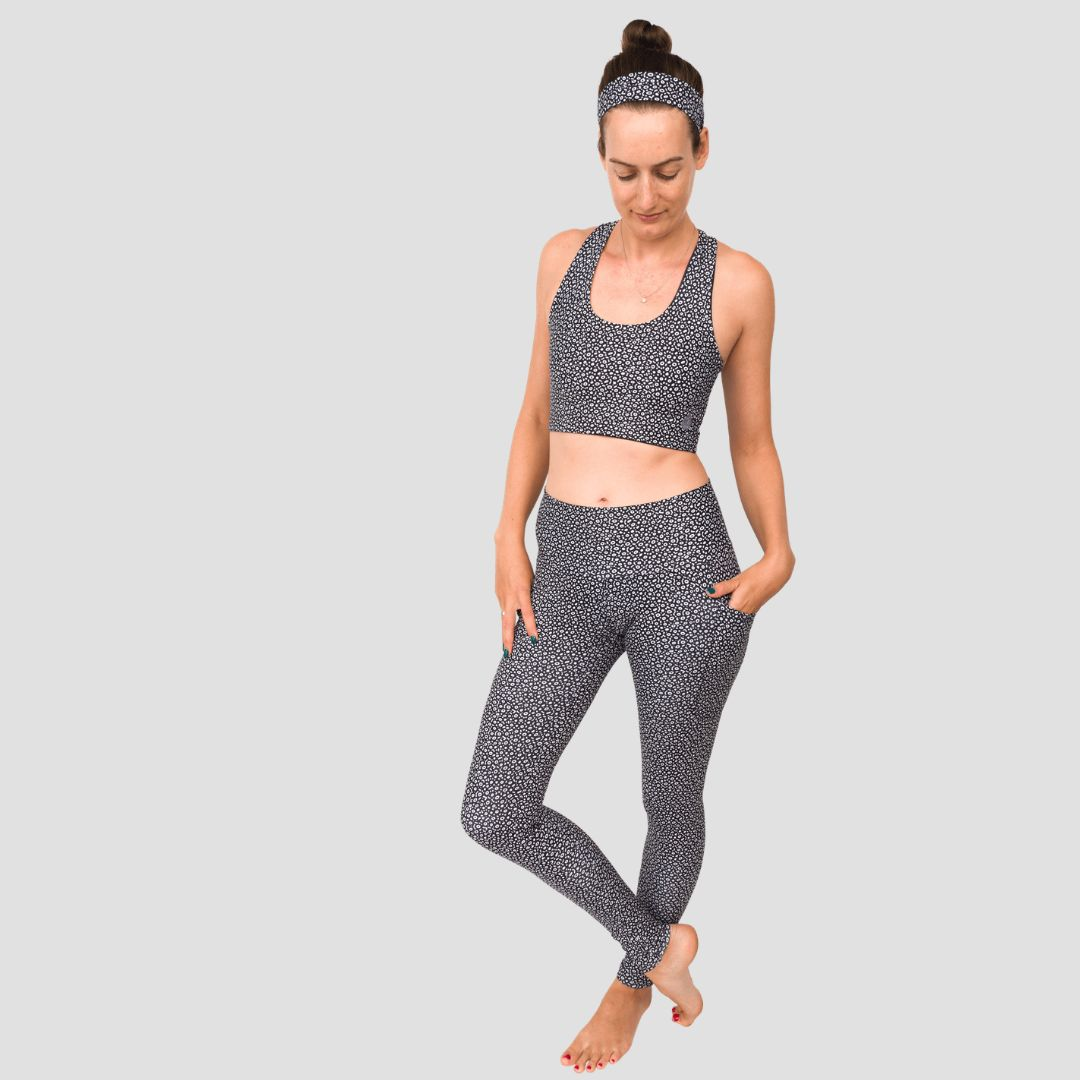 Waterlust apparel with the eagle ray pattern includes leggings, an exercise top and a headband, as well as a scrunchie and 8-inch shorts (not pictured).
