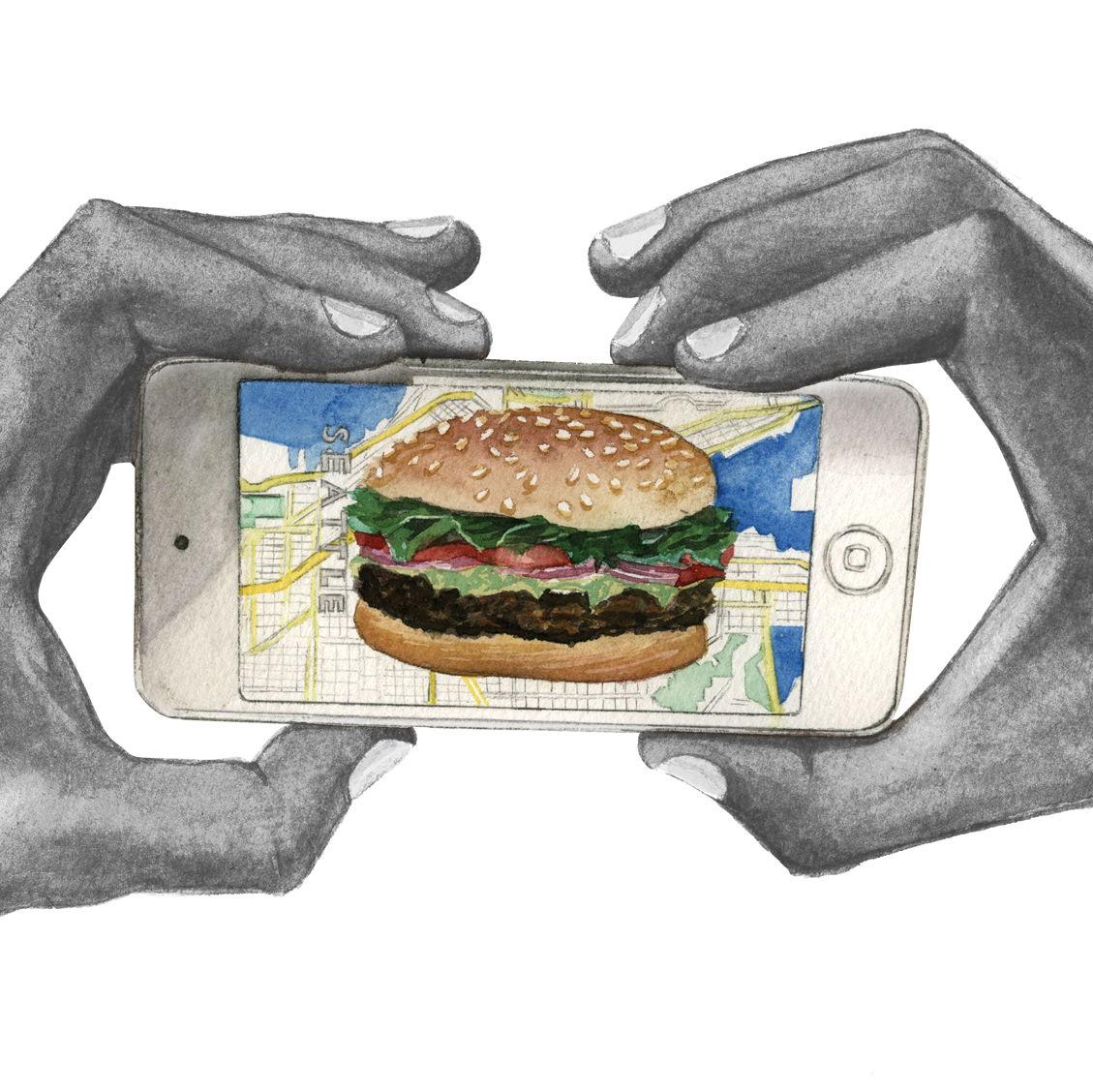 Hands phone burger map001 kjkdr0