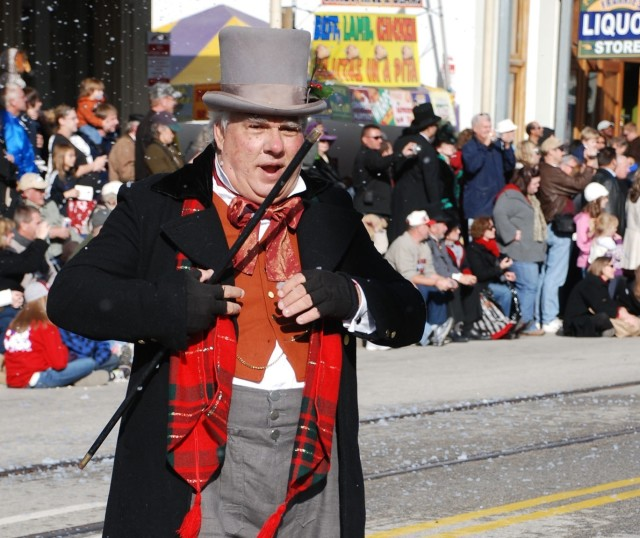 Dickens character in parade wvuhlg