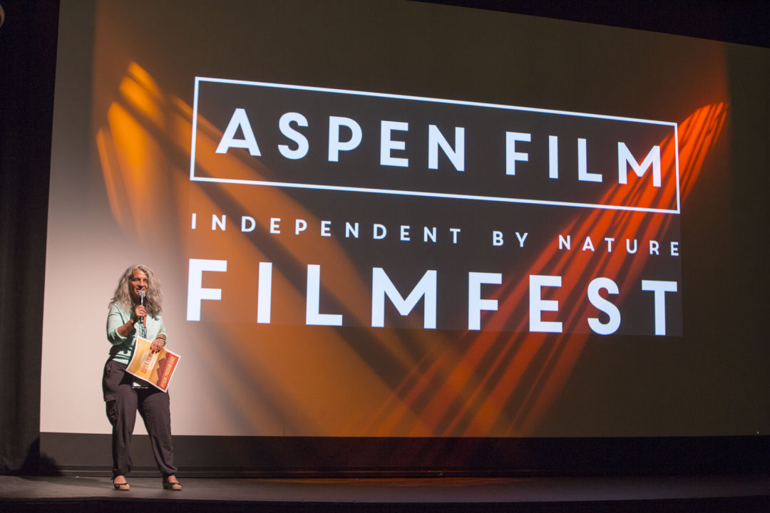 Director of programming rachel chanoff speaks at the aspen film festival saelei
