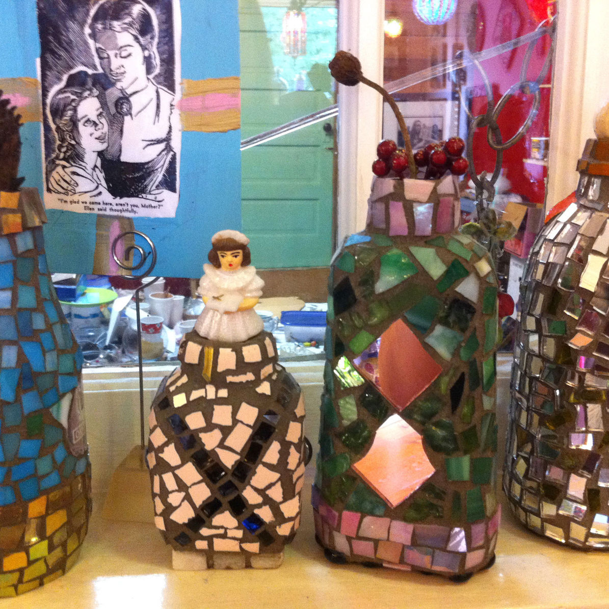 Mosaic jars with doll ddyayu