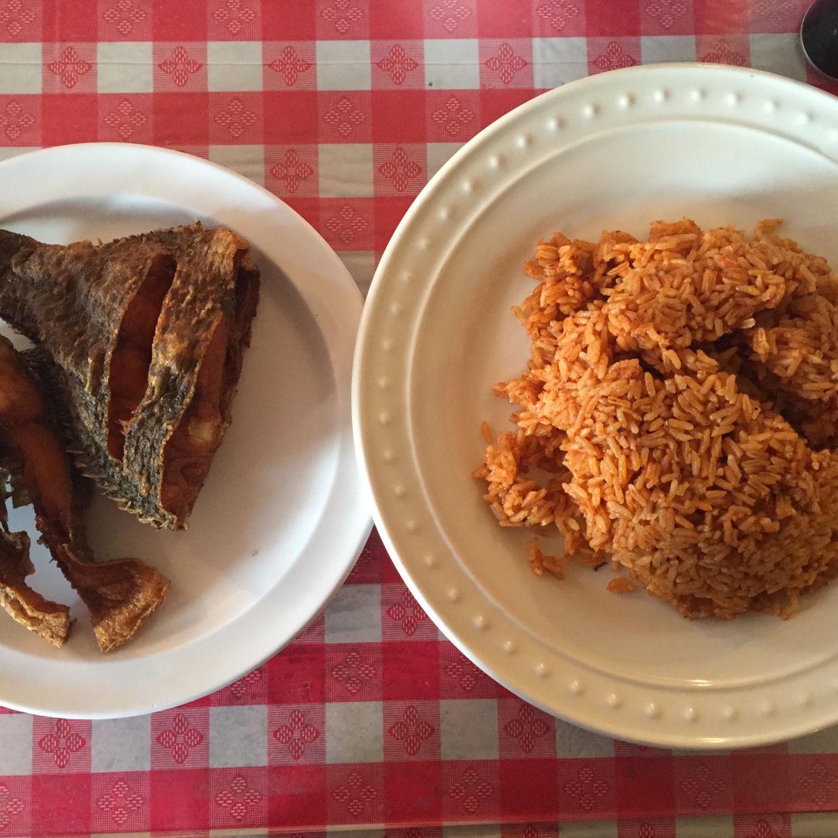 Jollof rice and fried fish suganf