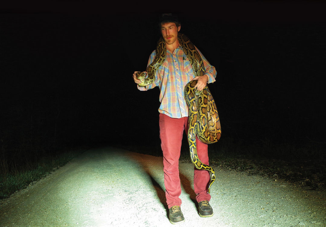 The author with a captured snake.