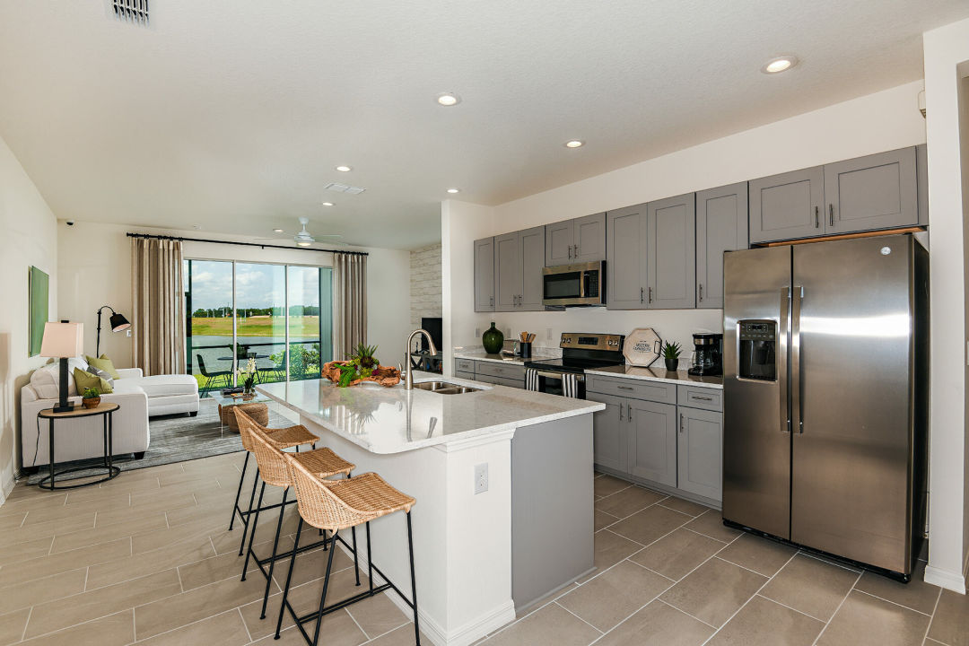 The kitchen in one of the new townhomes in North River Ranch's Riverfield neighborhood where houses start from the low $200,000s.