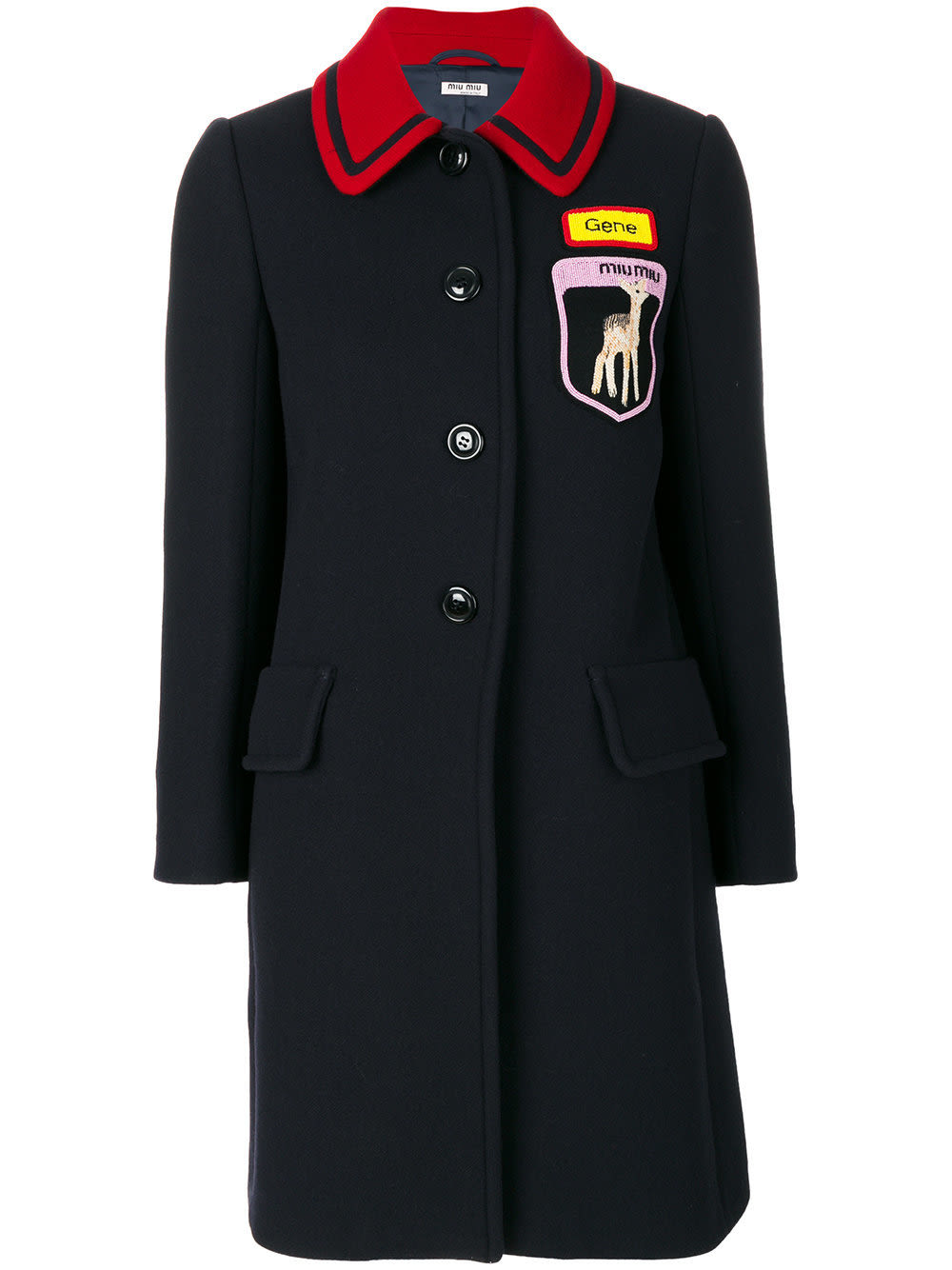 Miu miu badge patch buttoned coat  courtesy of farfetch jzpbxk