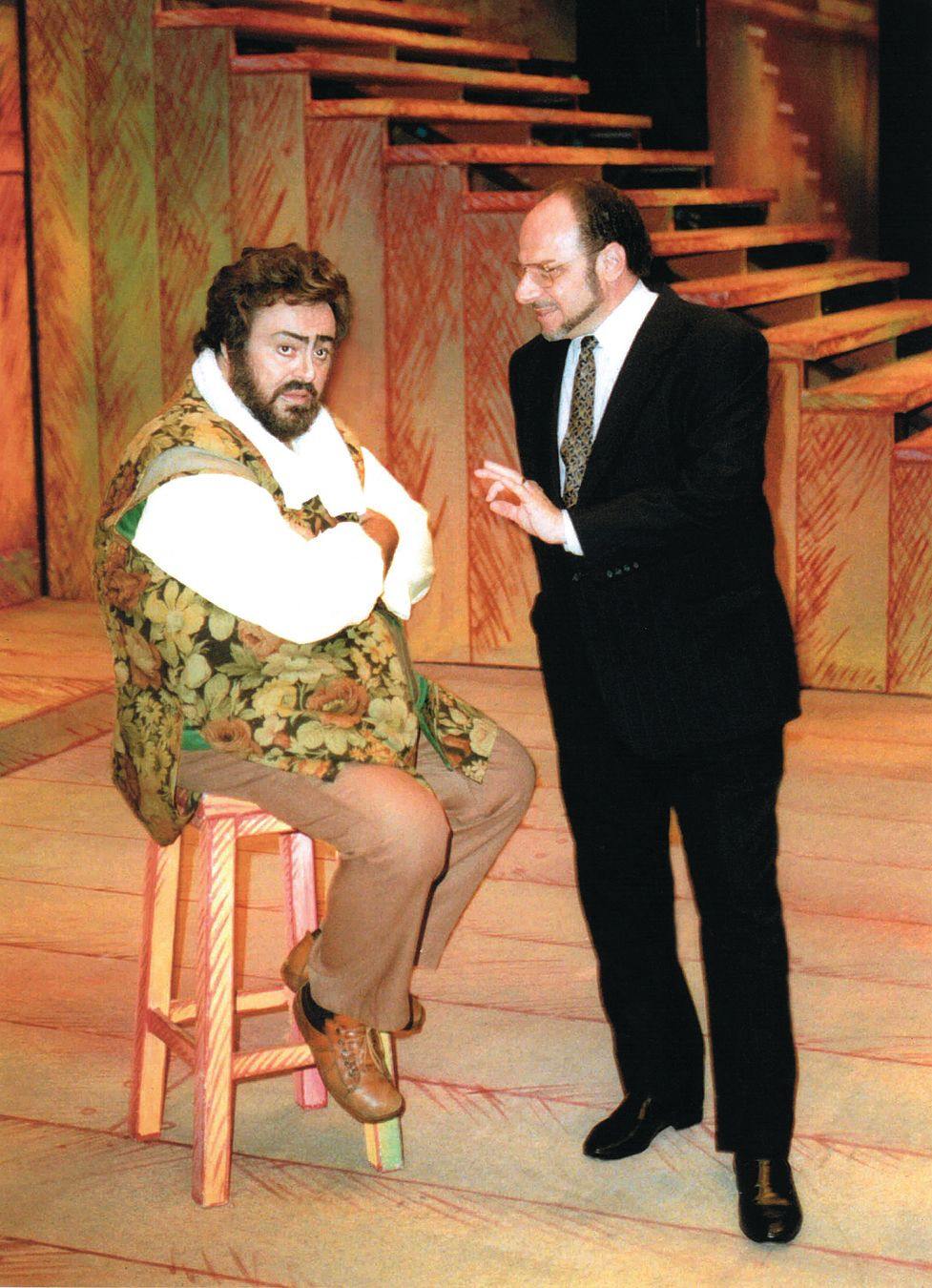 Joseph volpe and luciano pavarotti on stage at the metropolitan opera hby0lj