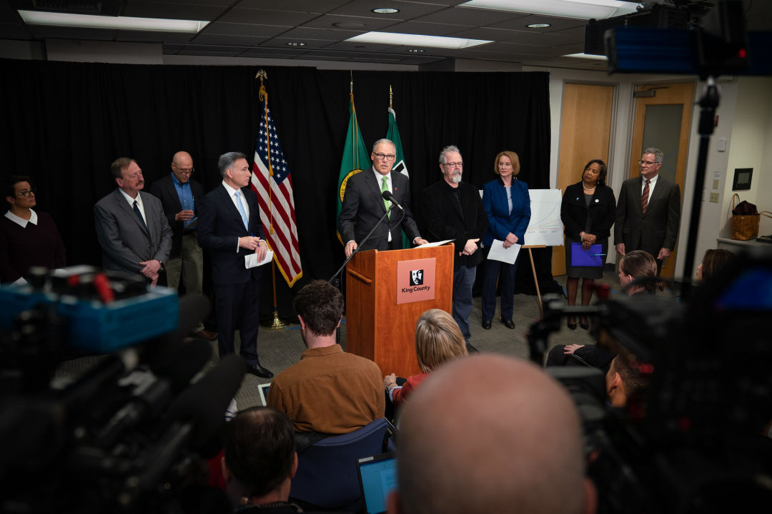 Governor Jay Inslee at a podium.
