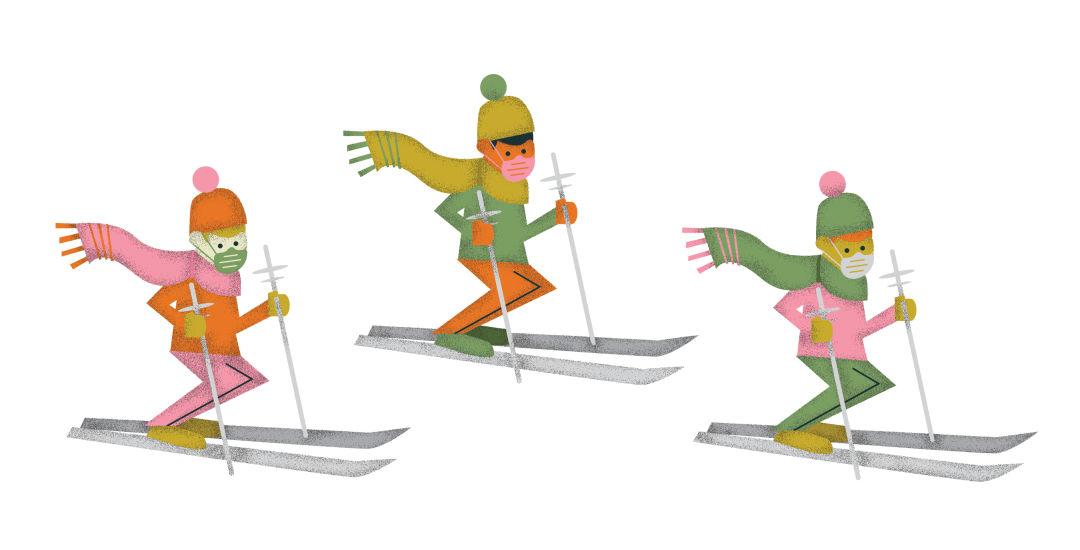 Illustration of masked skiiers
