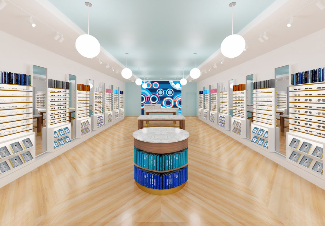 The interior of Sarasota's Warby Parker store.
