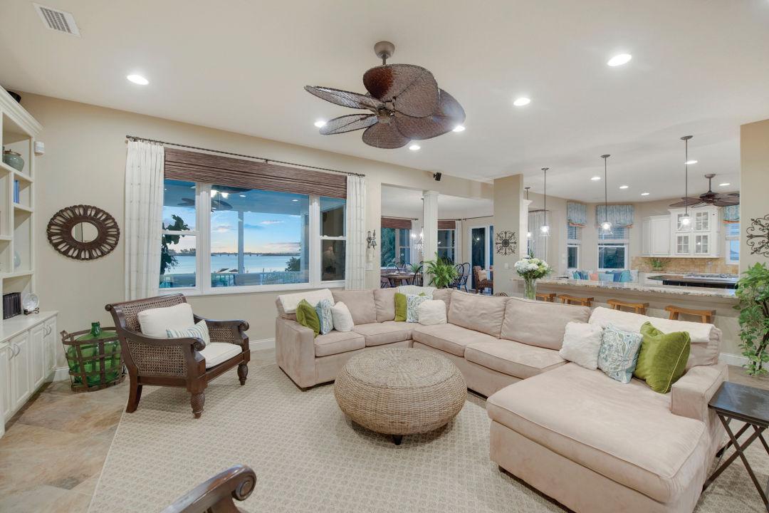 A comfy living room overlooks Palma Sola Bay