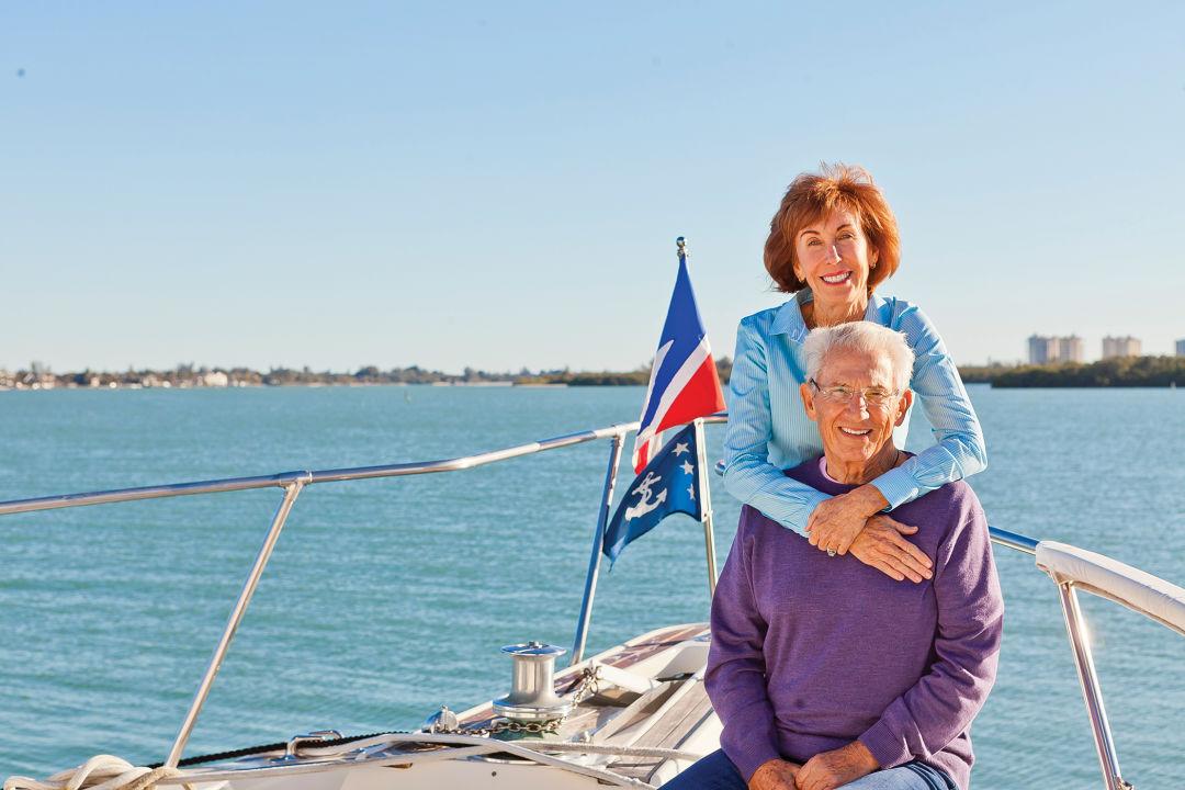 Marlene and Alex Lancaster aboard their yacht.