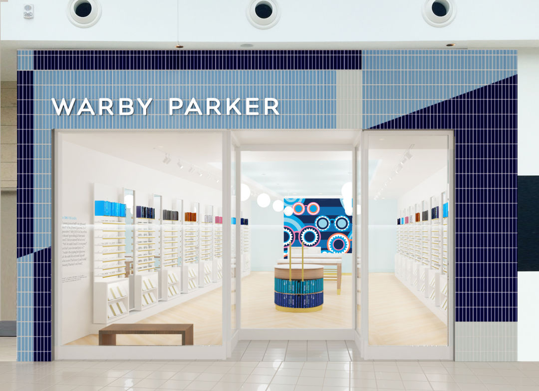 A rendering of Warby Parker's new Mall at University Town Center location.