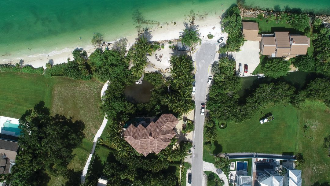 An aerial view of the controversial beach at 3935 Beach Road.