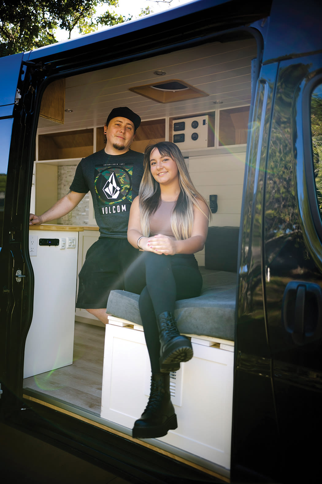 Thorington and Jaramillo in one of their converted vans.