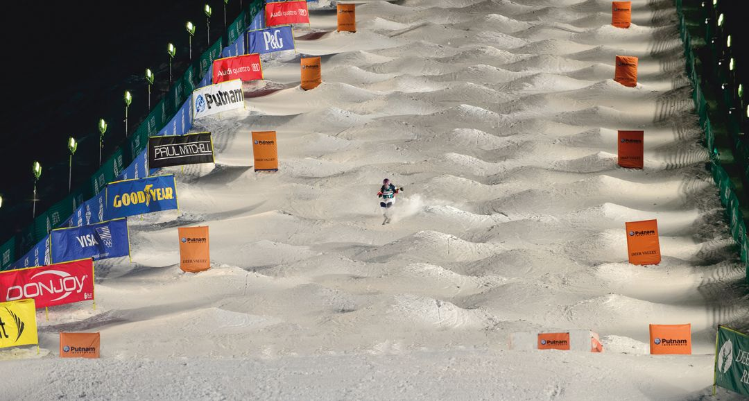 Freestyle moguls skier Mikaela Matthews battles one of the gnarliest  courses in the world, Deer Valley Resort's Champion, at the 2015 FIS  Freestyle World ...