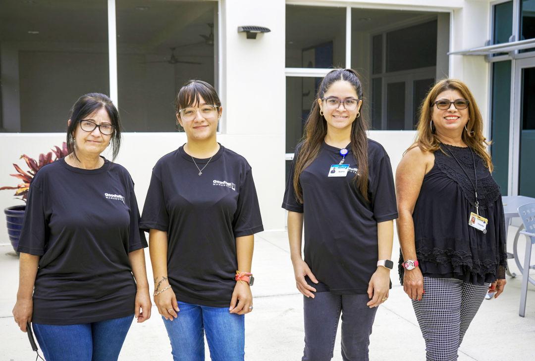 New Goodwill Manasota JobsPlus Language team members (from l-r) Yadir Olivar Perazaa, Alondra Delgado Ortega and Beatriz Ferrales Santiesteban with JobsPlus Language program manager Yolanda Garcia.