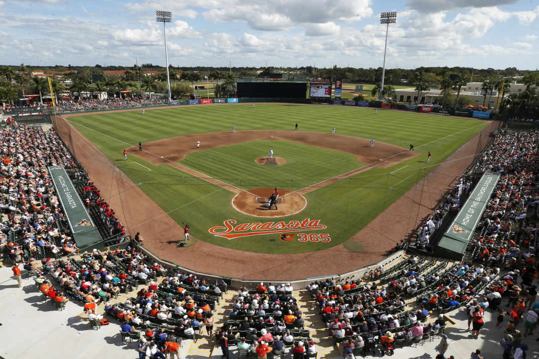 The Orioles playing at Ed Smith Stadium