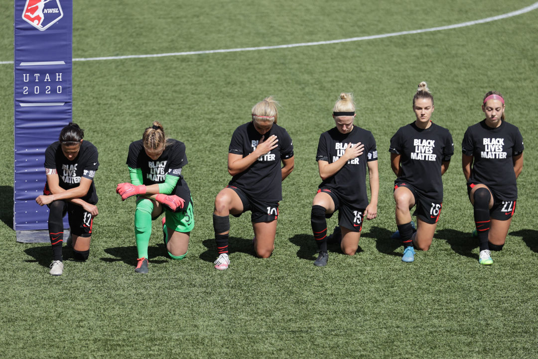 Portland Thorns Christine Sinclair, Bella Bixby, Lindsey Horan, Madison Pogarch, Christen Westphal, and Morgan Weaver