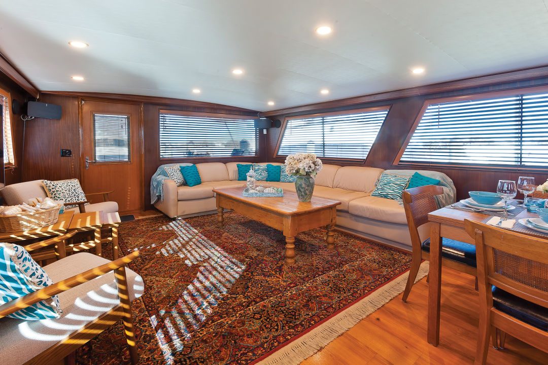 The yacht's living room