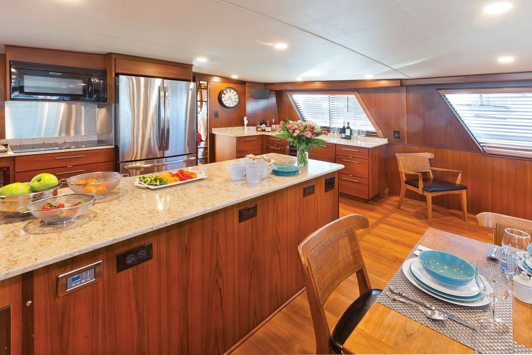 The yacht's galley