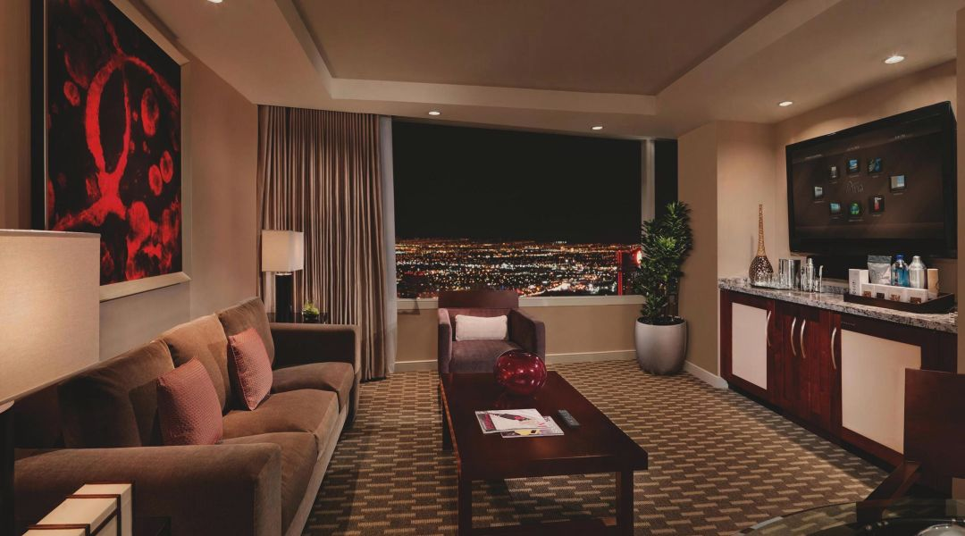 Aria hotel tower suite living room tv3gon
