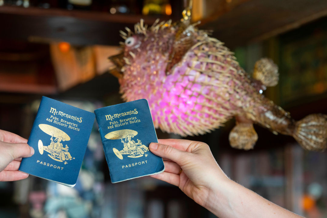Two McMenamins passports in a bar with a fish light fixture