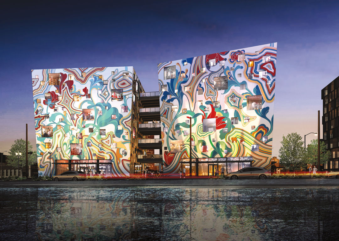 This wild mural will wrap around an entire portland office for Construction mural