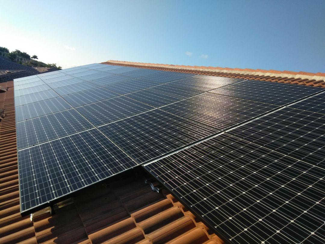 A solar panel atop a home in Venice.