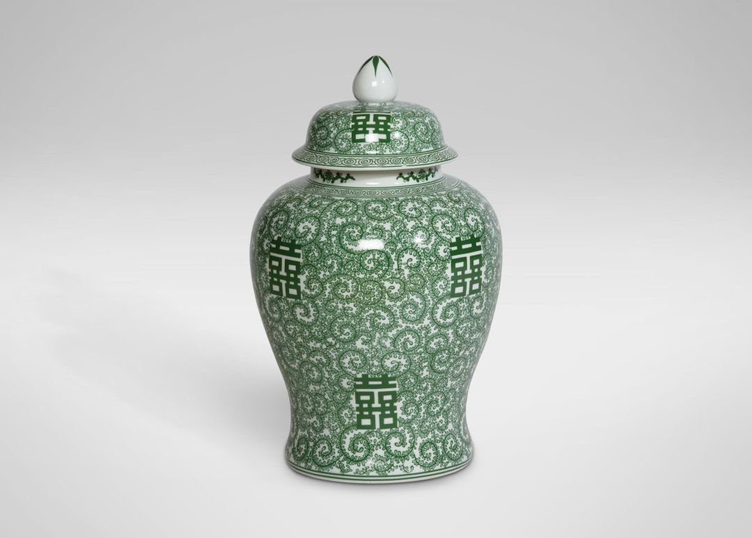 Ethan allen green and white temple jar qhnnql