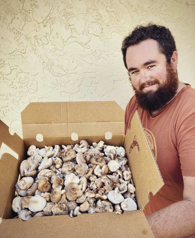 Petrichor co-founder Michael Shea with a box of mushrooms.