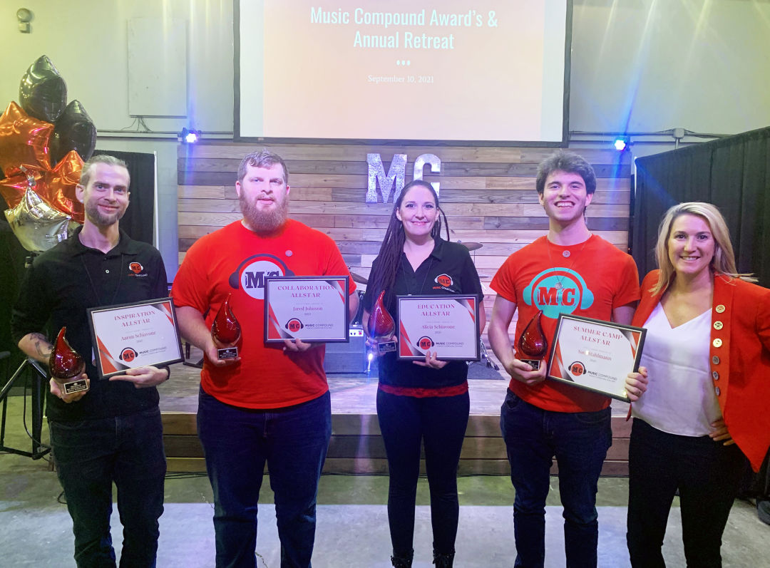 Music Compound staff award-winners (from l-r) Aaron Schiavone, Jared Johnson, Alicia Schiavone and Sam Stahlmann with Music Compound owner Jenny Townsend