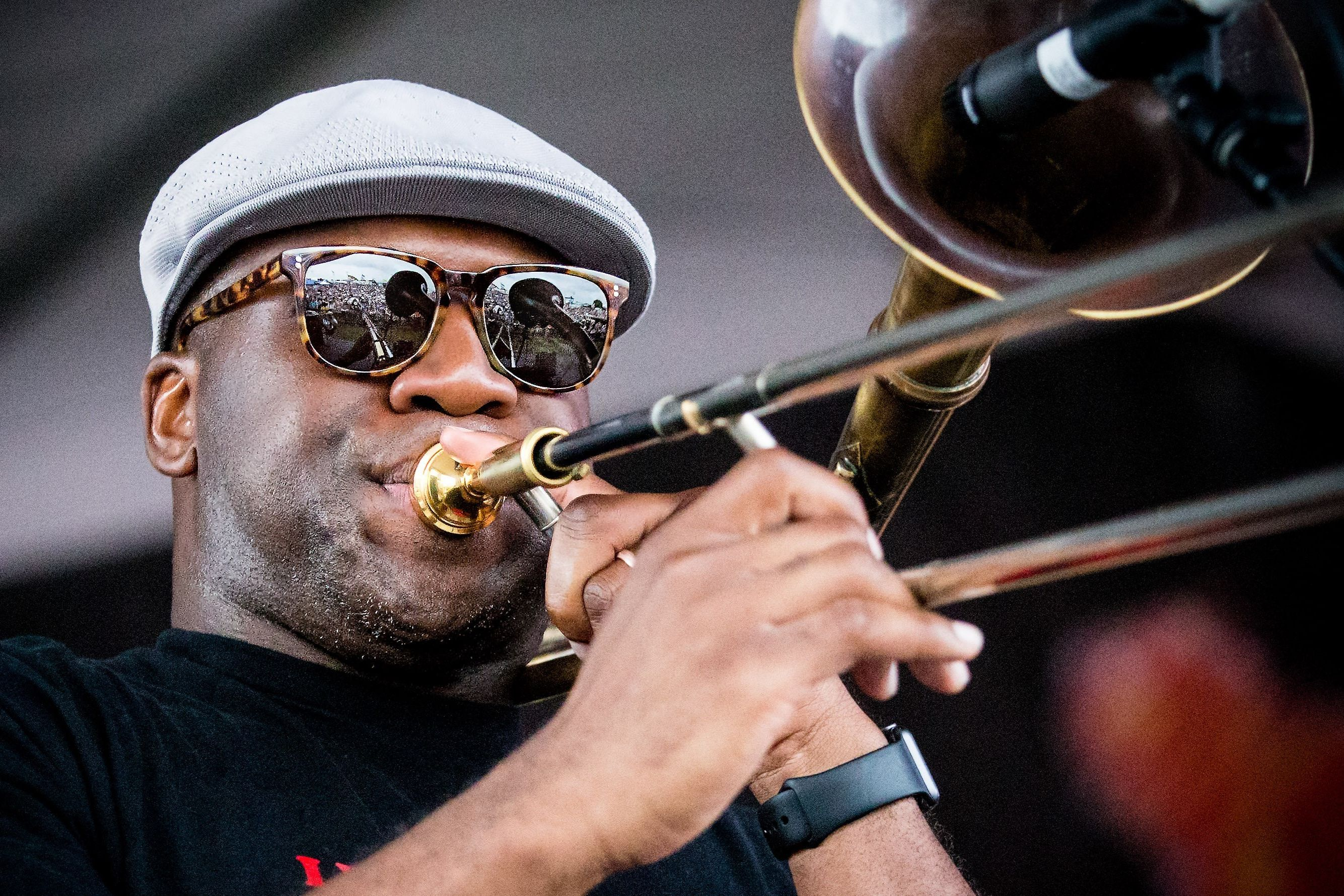 Big sam closeup jazzfest 2016 flamia