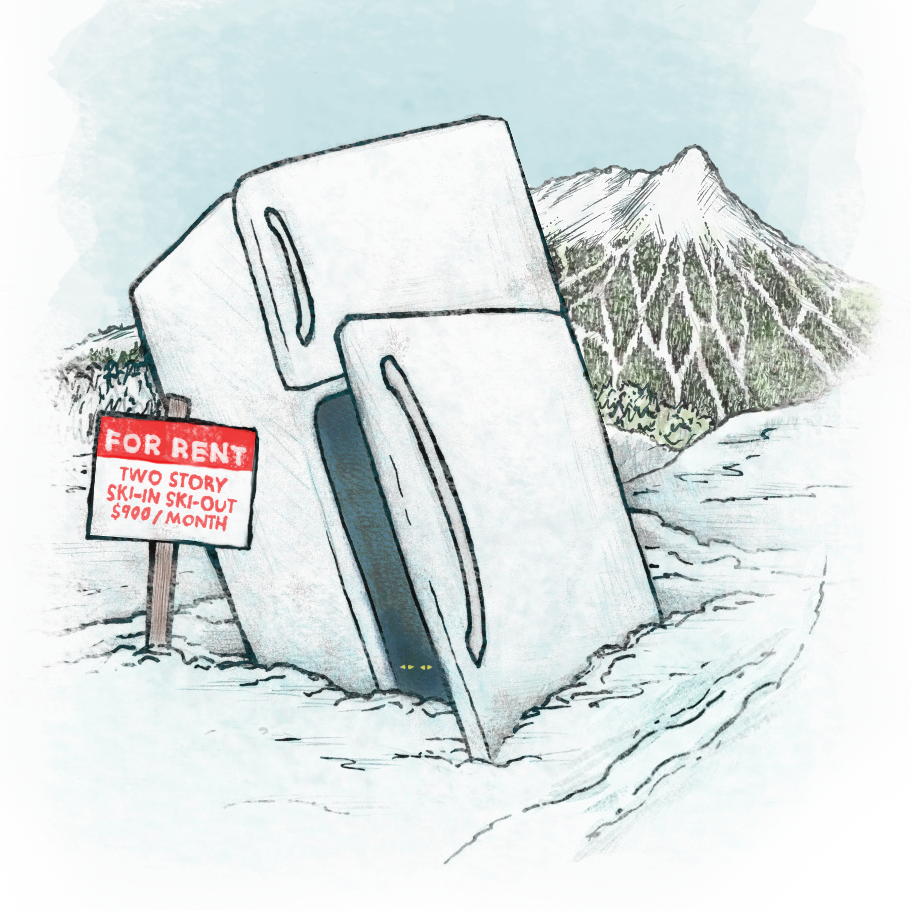 Colorado summit paradise leased fridge illustration winter 2016 tli5d9