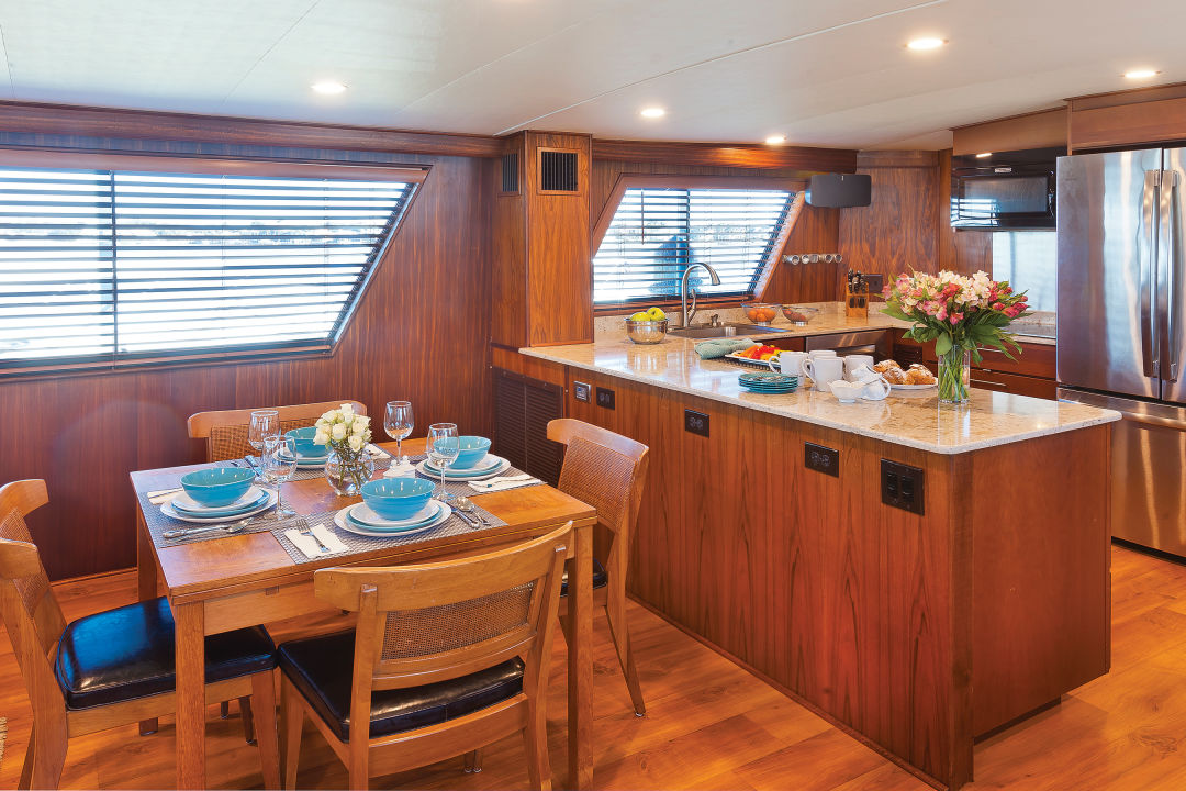The Lancasters knocked down a wall to connect the galley and dining and living areas.