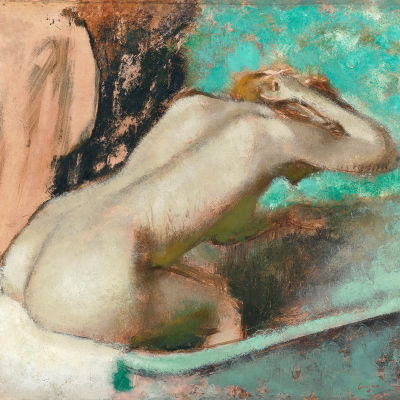 Degas  woman seated on the edge of the bath sponging her neck dccwtb