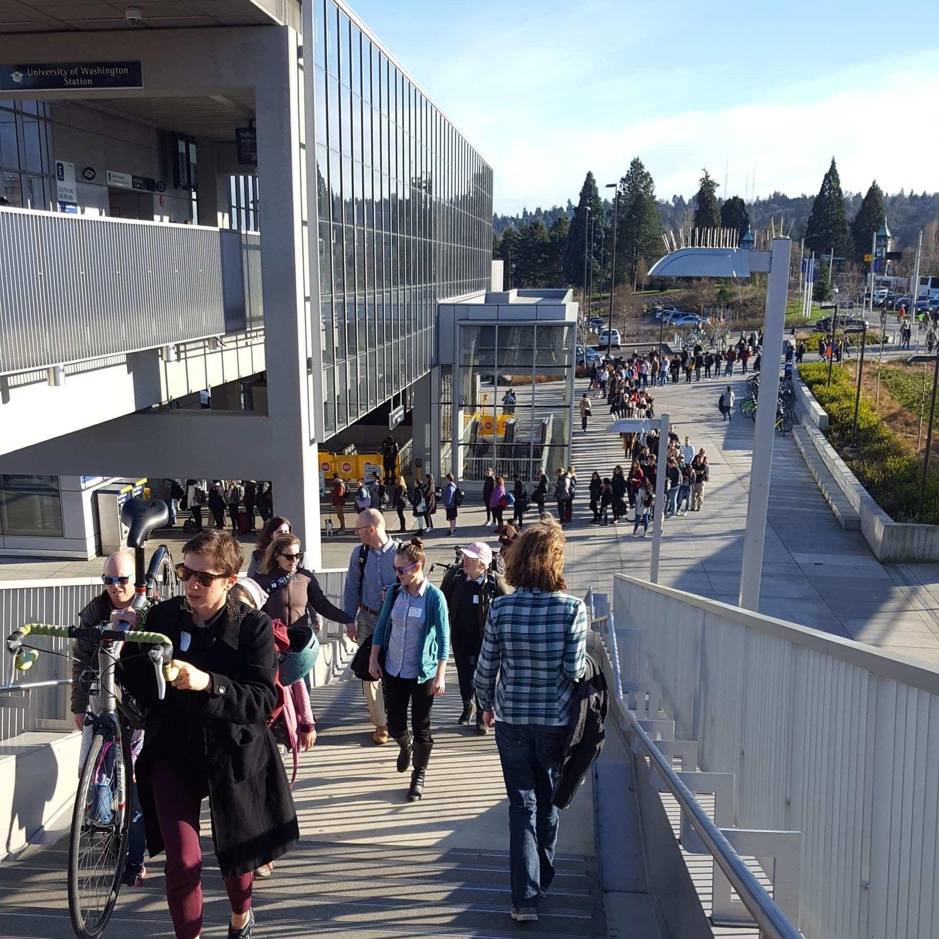 Line university of washington transit escalators stairs light rail vo0kpq