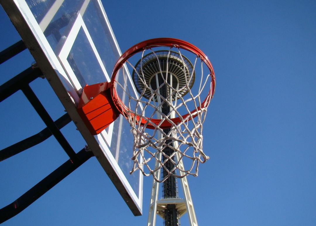 Space Needle and basketball hoop