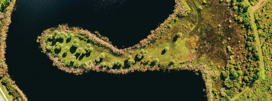 Sky view of the lake at Scherer Thaxton Preserve