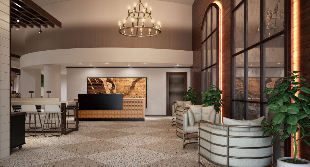 The lobby of the new Tapestry Collection hotel by Hilton.