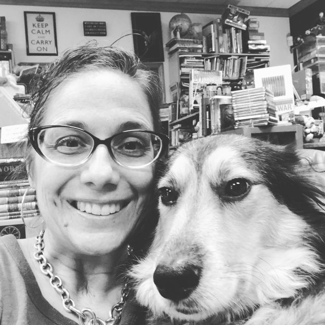 Owner Barbara Barone with Max, the shop dog