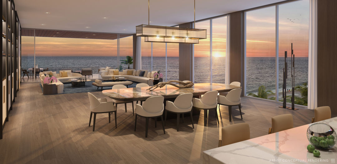A rendering of a living space in one of the Sage Longboat Key units.
