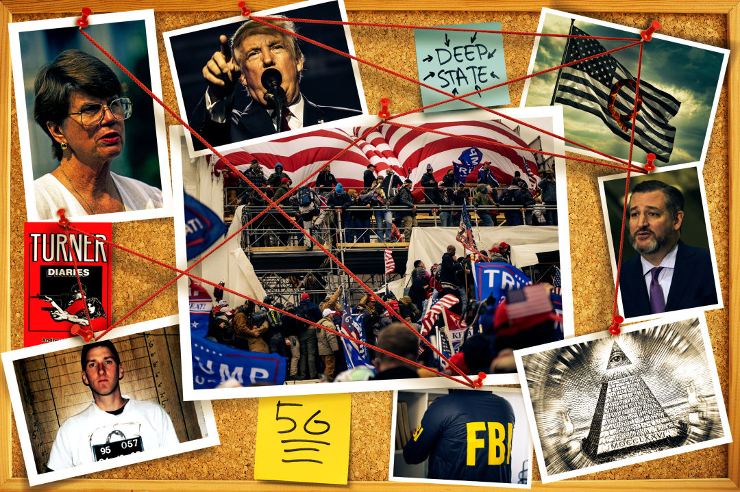 Bulletin board with connected images of TImothy McVeigh, Ted Cruz, Donald Trump, Janet Reno, and conspiracy iconography